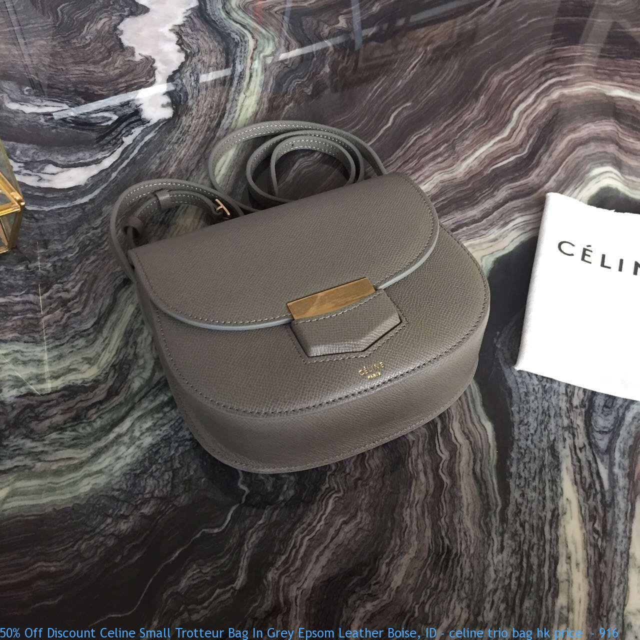 127e200281 50% Off Discount Celine Small Trotteur Bag In Grey Epsom Leather ...