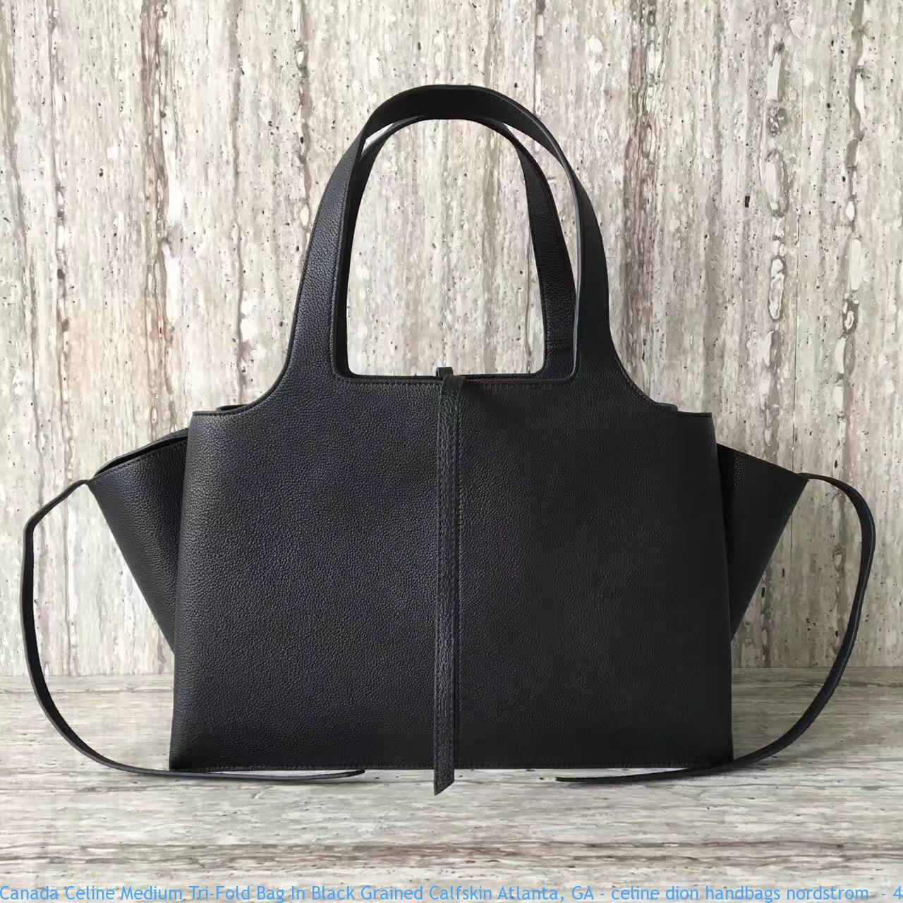 090f89d7cad8 Canada Celine Medium Tri-Fold Bag In Black Grained Calfskin Atlanta ...