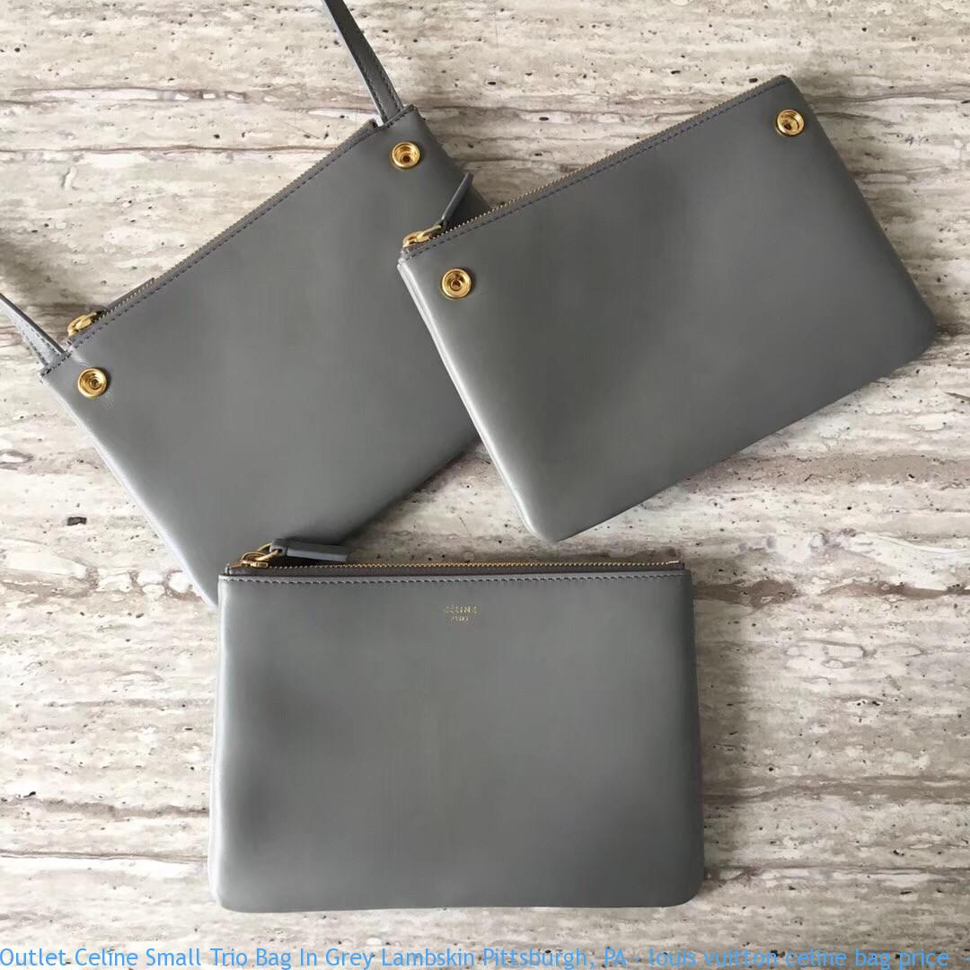 Outlet Celine Small Trio Bag In Grey Lambskin Pittsburgh Pa
