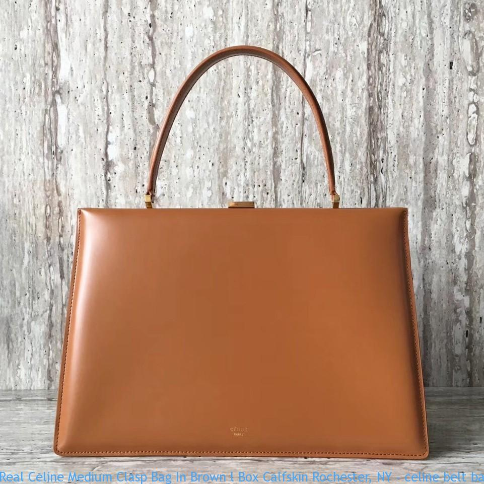 Real Celine Medium Clasp Bag In Brown l Box Calfskin Rochester 6769494ecef42