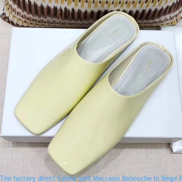 d08369fa2e9 The factory direct Celine Soft Moccasin Babouche In Beige Patent ...
